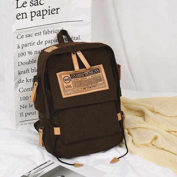Obangbag Brown Canvas Stitching Multi Pocket Unisex Work Backpack