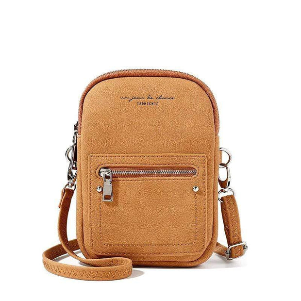 Obangbag Brown Chic Douple Zipper Women Mini Phone Bag Crossbody Bag