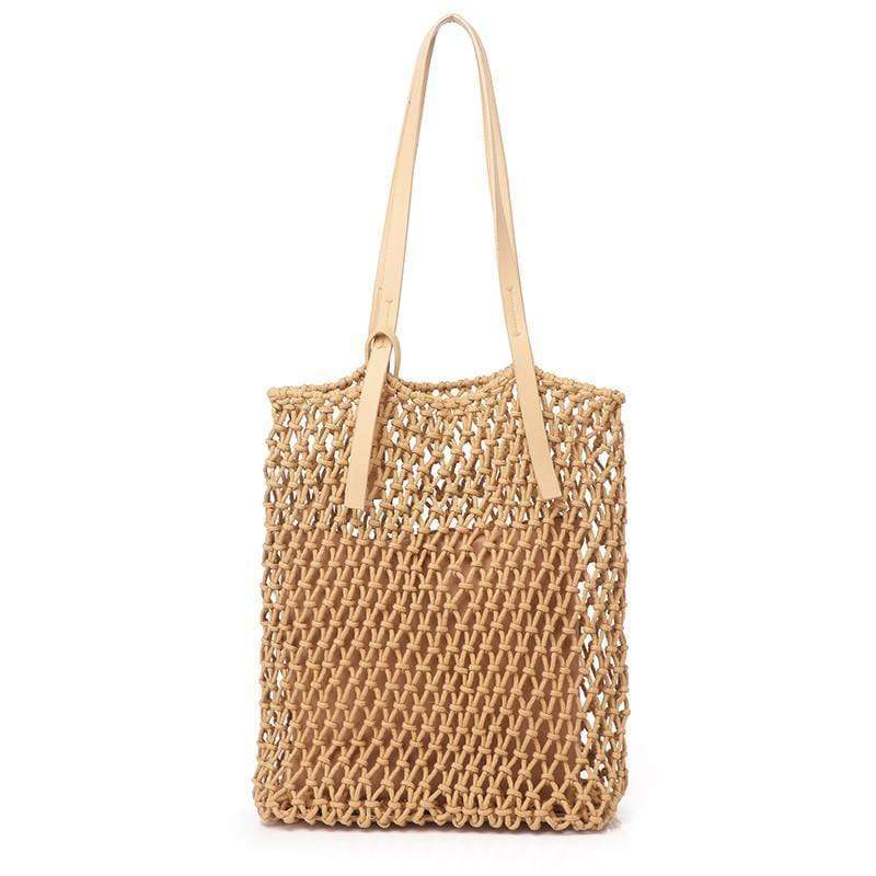 Obangbag brown Ladies Fashion Mesh Straw Rattan Summer Mini Cute Small Beach Bag Handbag