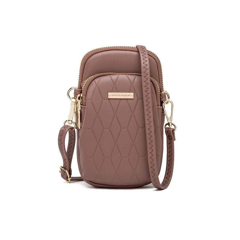Obangbag Brown Ladies Fashion Mini Leather Crossbody Bag Phone Bag