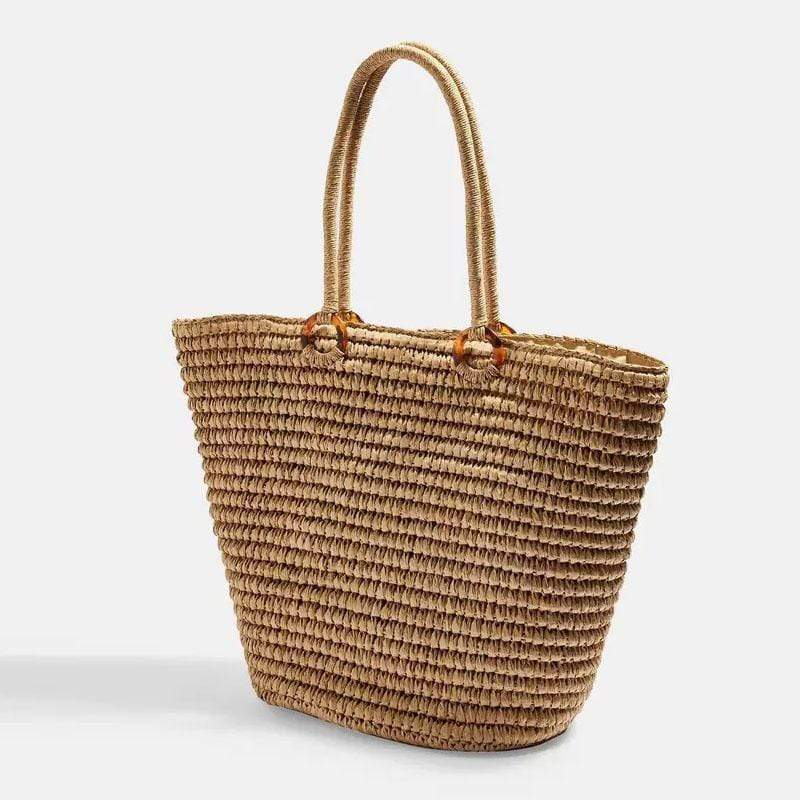 Obangbag Brown Ladies Summer Beach Straw Woven Large Capacity Shoulder Bag