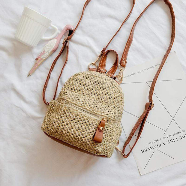Obangbag Brown Ladies Summer Multi Function Chic Straw Rattan Woven Mini Small Cute Backpack