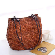 Obangbag Brown Ladies Summer Straw Rattan Beach Tote Bags Shoulder Bags