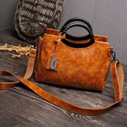 Obangbag Brown Large Capacity Multi Purpose Ladies Work Retro Leather Tote Bag