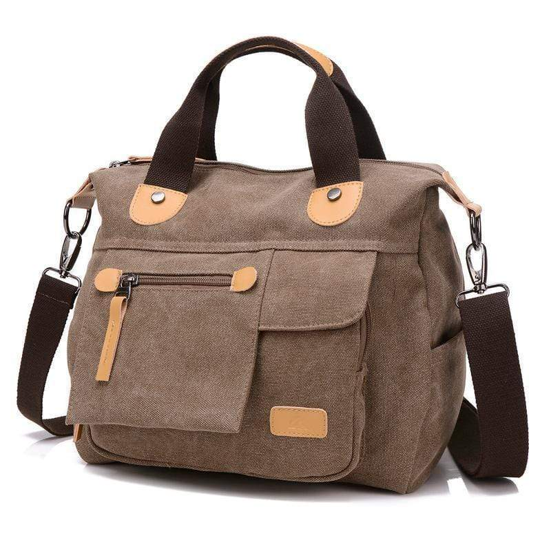 Obangbag Brown Large Capacity Shoulder Bag Travel Bag Canvas Bag