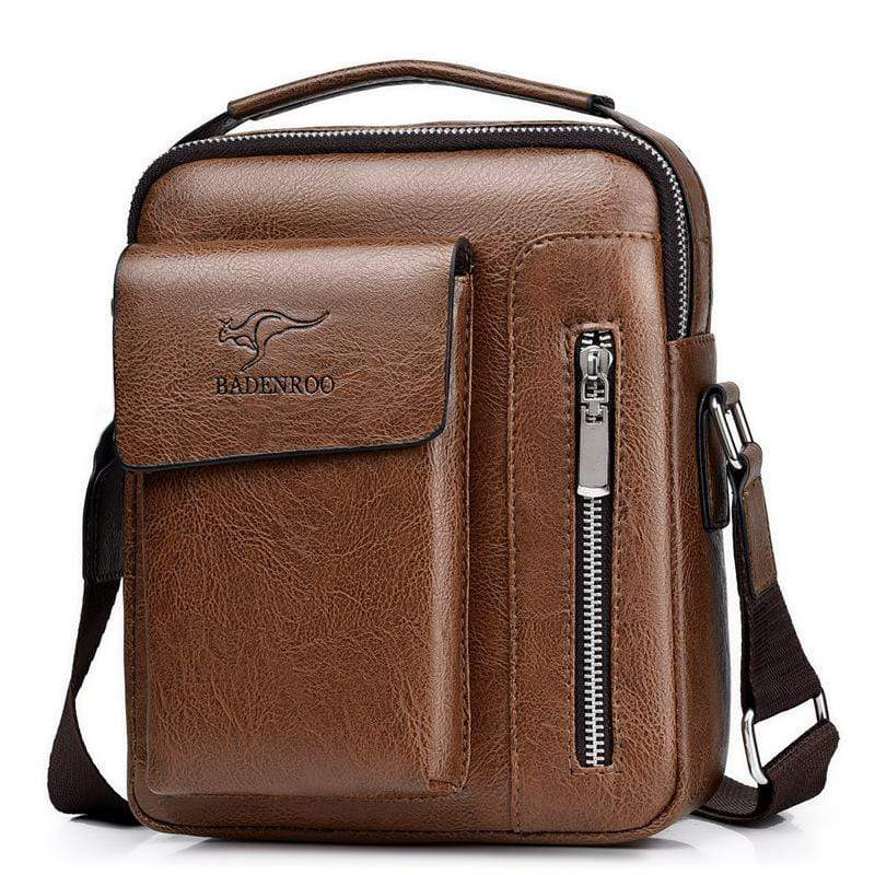 Obangbag Brown / Large Men Retro Multi Pockets Professional Large Capacity Leather Handbag Crossbody Bag for Work