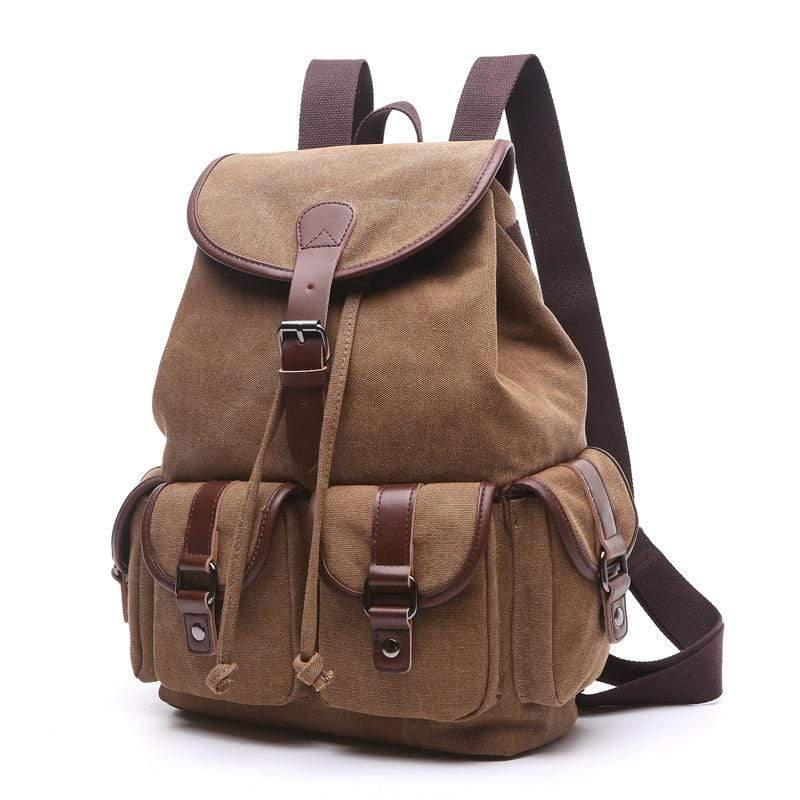 Obangbag Brown / Large Women Chic Multi Pockets Large Capacity Canvas Backpack for School for Traval