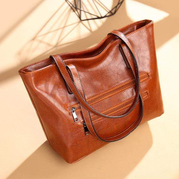 Obangbag Brown / Large Women Stylish Simple Large Capacity Multifunction Oil Wax Leather Tote Bag Handbag
