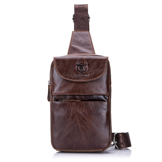 Obangbag Brown Men's Retro Leather Vintage Shoulder Bag Messenger Bag Chest Pack