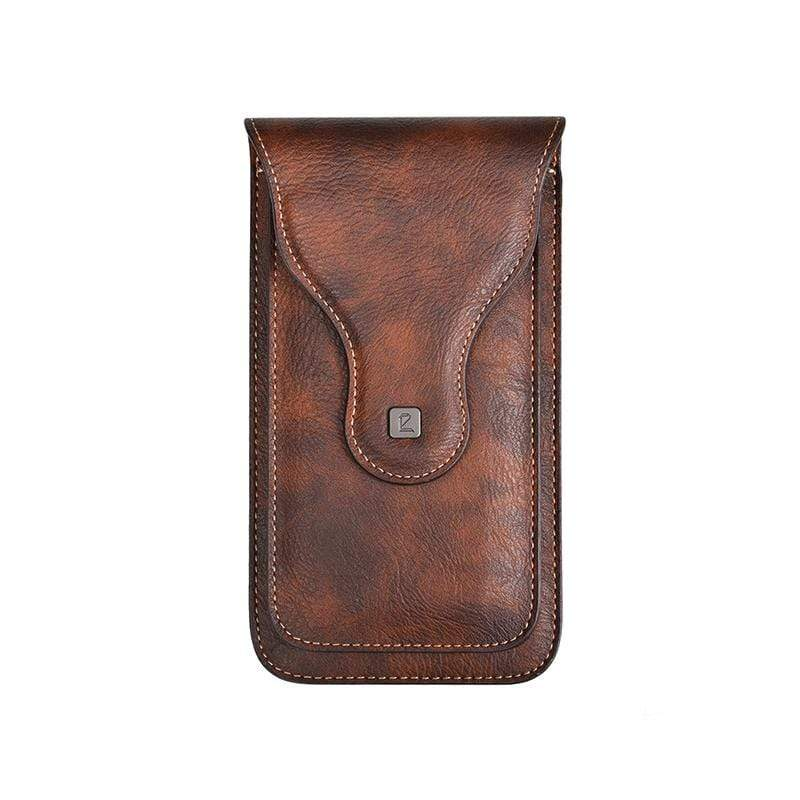 Obangbag Brown Men Vintage Universal Belt Clip Magnetic Holster Case Phone Bag