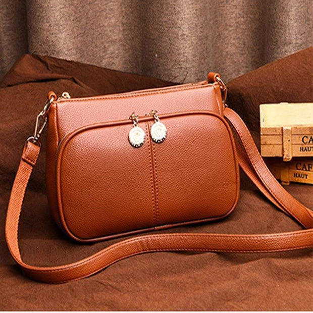 Obangbag Brown Minimalistic Design Multi-layer Zipper Sling Shoulder Bag