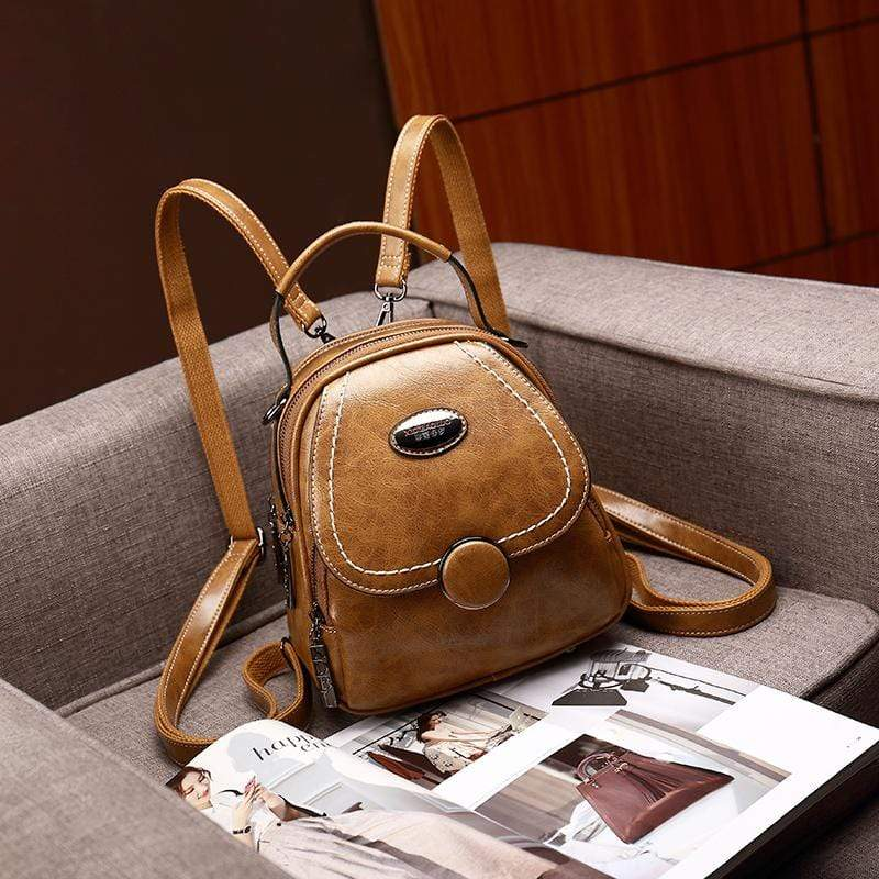 Obangbag Brown Multi Function Multi Pockets Women Small Retro Leather Backpack
