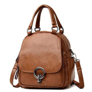 Obangbag Brown Multi Function Soft Leather Classical Retro Vintage Backpack Travel Bag Crossbody Bag