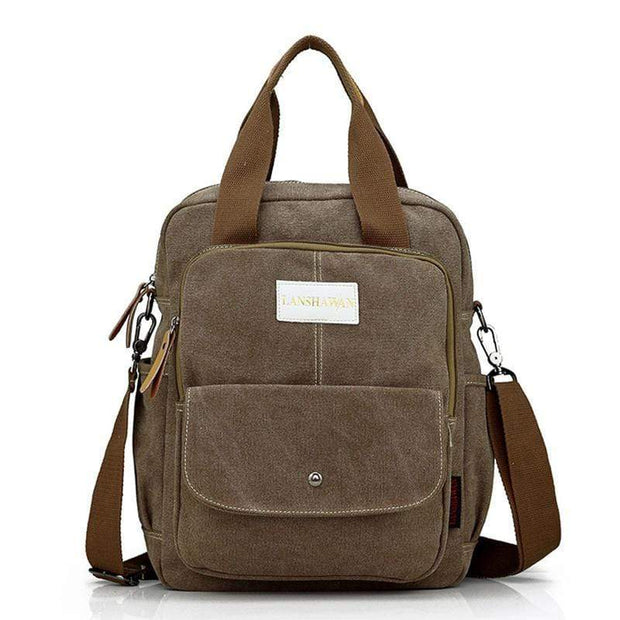 Obangbag Brown Multi Function Unisex Canvas Messenger Bag Backpack