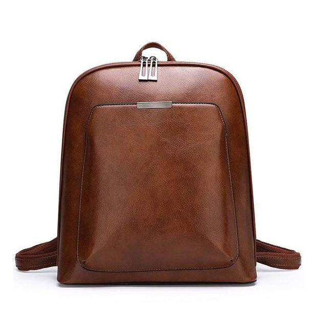 Women Vintage Leather Multifunction Multi Pocket Work Backpack
