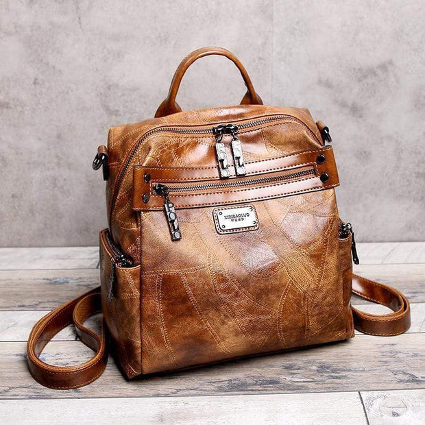 Obangbag Brown Multi Purpose Retro Oil Wax Leather Vintage Backpack Shoulder Bag