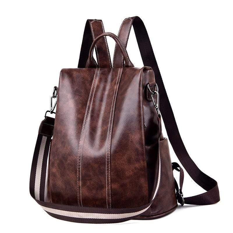 Obangbag Brown Multifunction Anti Theft iPad Backpack Large Capacity Shoulder Bag