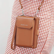 Obangbag Brown Multifunctional Leather Phone Bag Roomy Card Wallet Fashion Shoulder Bag