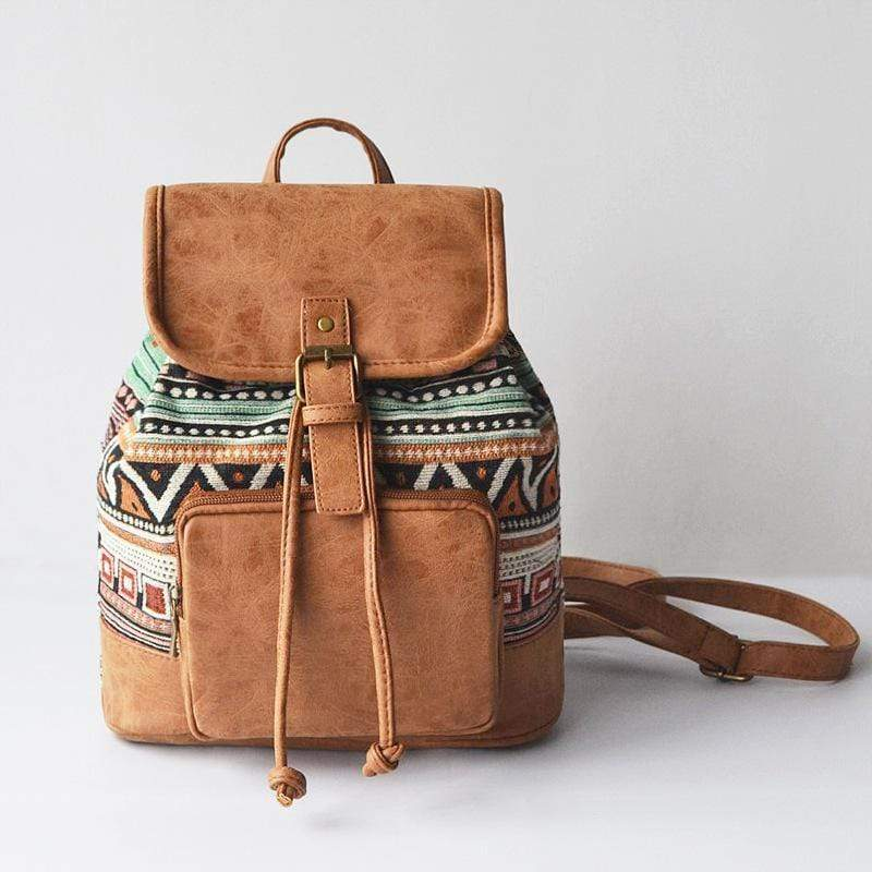 Obangbag brown Patchwork National String Linen large Pockets Handmade Backpack
