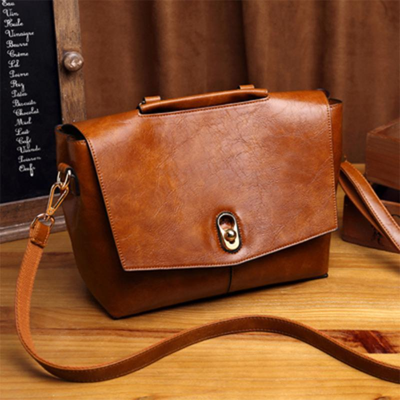 Obangbag Brown Retro Large Capacity Ladies Vintage Leather Handbag Shoulder Bag