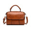 Obangbag Brown Retro Leather Vintage Multi-pocket Handbag Minimalist Messenger bag