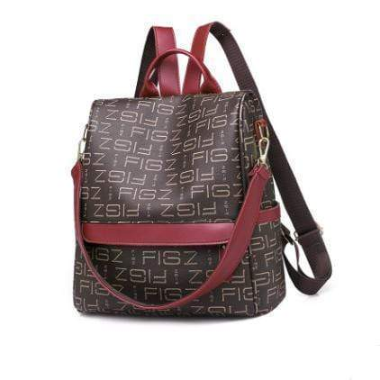 Obangbag Brown Retro Letter Printing Leather Backpack