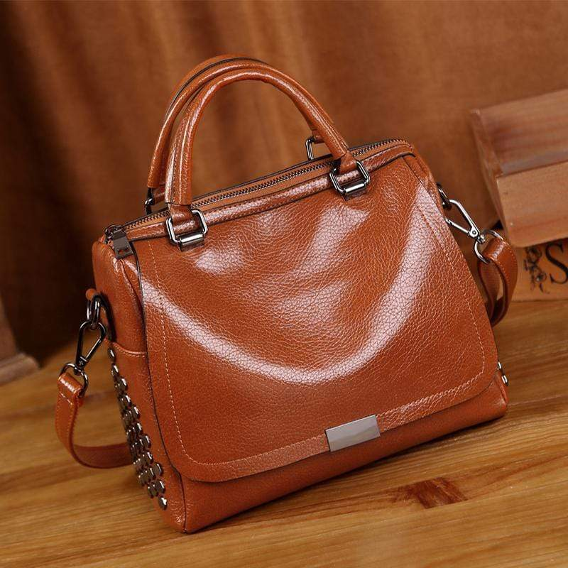 Obangbag Brown Retro Vintage Anti theft Leather Messenger Handbag Shoulder Bag