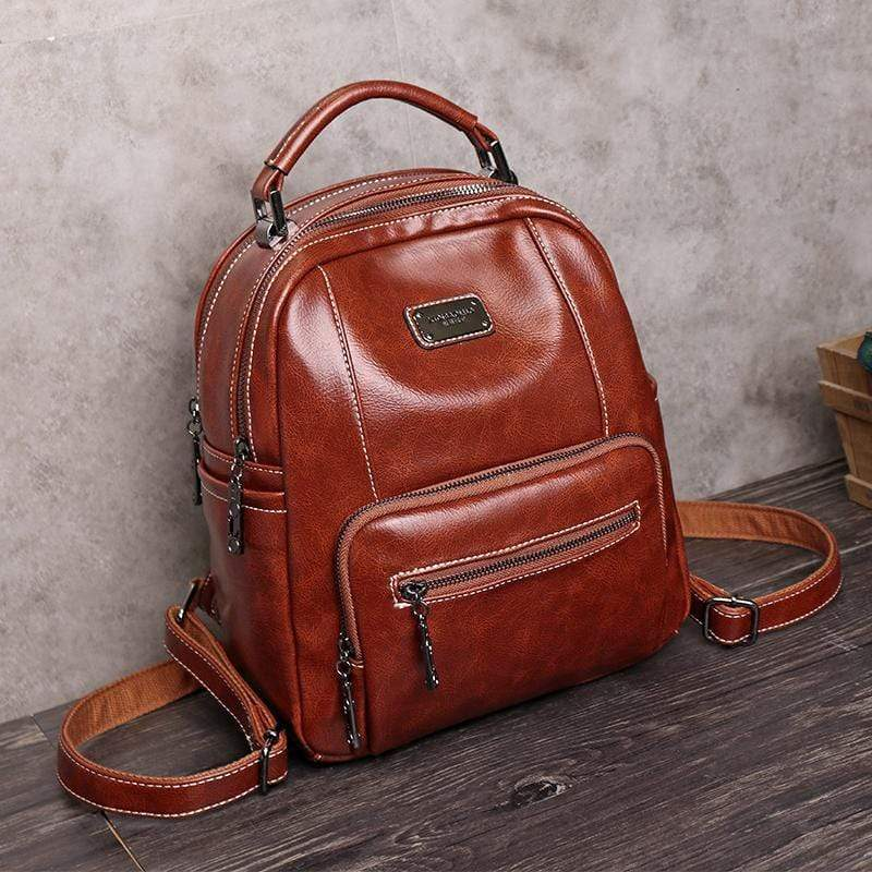 Obangbag Brown Retro Vintage Large Capacity Oil Wax Backpack