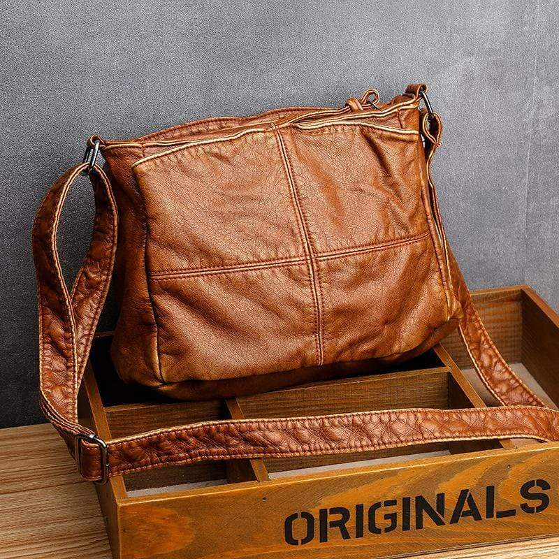 Obangbag Brown Retro Washed Soft Leather Multi Pockets Crossbody Bag for Women