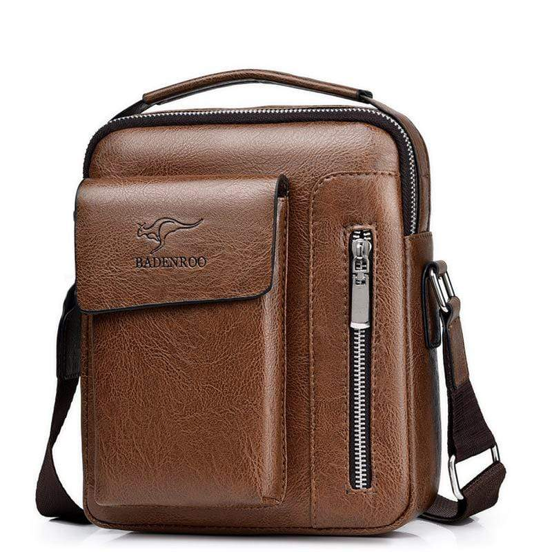 Obangbag Brown / Small Men Retro Multi Pockets Professional Large Capacity Leather Handbag Crossbody Bag for Work
