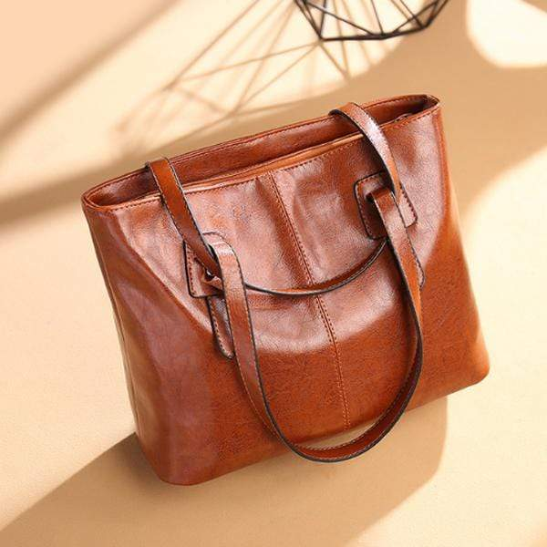Obangbag Brown / Small Women Stylish Simple Large Capacity Multifunction Oil Wax Leather Tote Bag Handbag