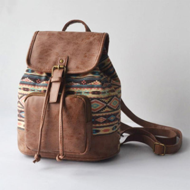 Obangbag Brown square Patchwork National String Linen large Pockets Handmade Backpack