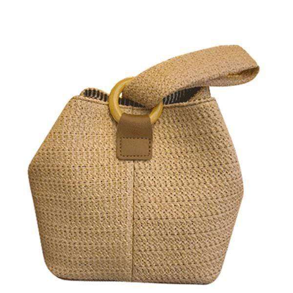 Obangbag Brown Summer Wild Fashion Straw Rattan Braided Square Bucket Bag Party Bag Beach Bag Handbag for Ladies
