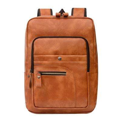 Obangbag Brown Unisex Chic Casual Roomy Multifunction Leather Backpack Laptop Bag Bookbag for Travel for Work