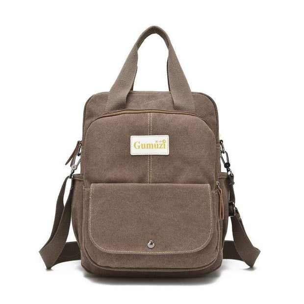 Obangbag Brown Unisex Multi Funciton Retro Canvas Messenger Shoulder Bag Backpack