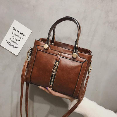 Obangbag Brown Vintage Retro Large Capacity Women Leather Handbag