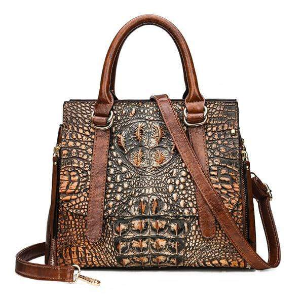 Obangbag Brown Woman Crocodile Leather Large Capacity Shoulder Messenger Bag