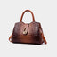 Obangbag Brown Woman crocodile pattern women shoulder bag soft leather cross-body bag handbag