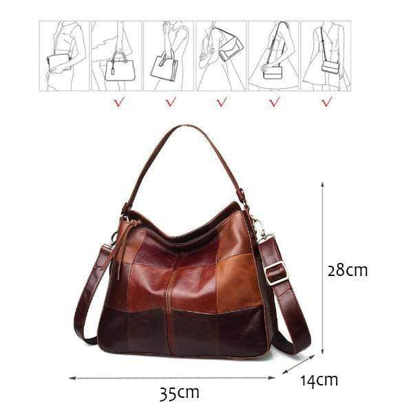 Obangbag Brown Woman retro color matching leather large capacity handbag Messenger bag