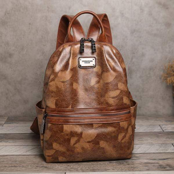 Obangbag Brown Woman Retro Vintage Camouflage Leaf Pattern Oil Wax Leather Large Capacity Backpack for School for Work