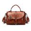 Obangbag Brown Woman Vintage Leather Multi Pocket Handbag