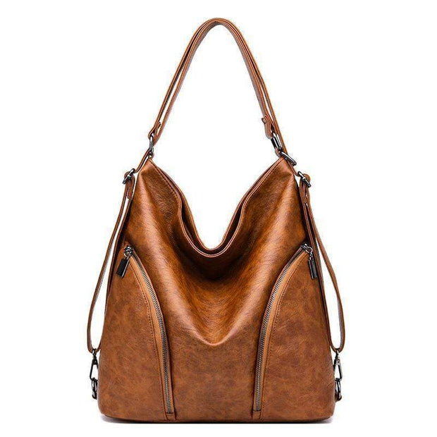 Obangbag Brown Women Anti-theft Leather Work Backpack With Side Pockets