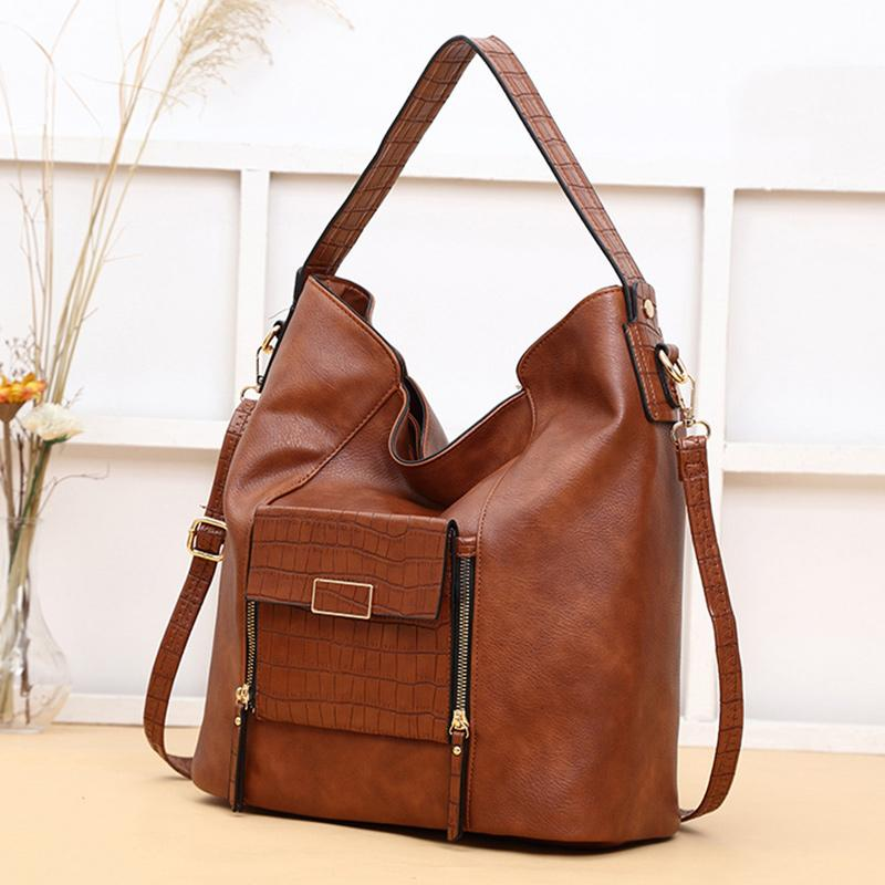 Obangbag Brown Women Big Stylish Vintage Large Capacity Multi Pockets Leather Shoulder Bag Crossbody Bag