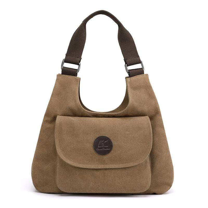Obangbag Brown Women Casual Simple Multi Pockets Large Capacity Canvas Tote Bag Handbag Sling Bag for Work
