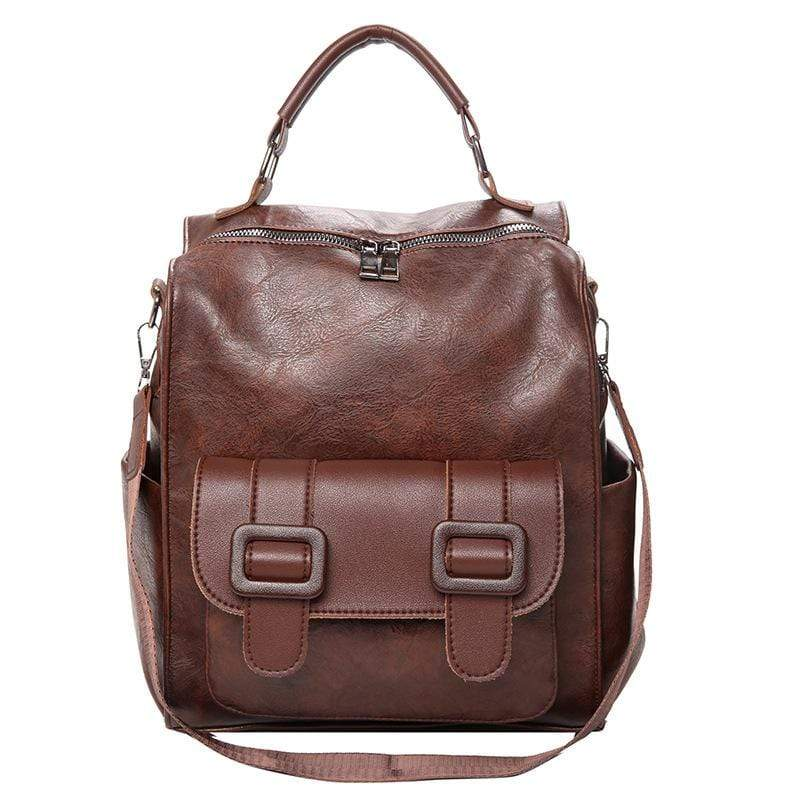 Obangbag Brown Women Chic Big Large Capacity Multifunction PU Leather Backpack Bookbag Shoulder Bag for School