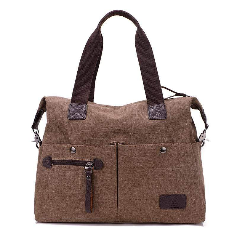 Obangbag Brown Women Chic Casual Large Capacity Big Multi Pockets Canvas Leather Shoulder Bag Crossbody Bag