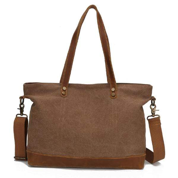 Obangbag Brown Women Chic Casual Large Capacity Leather Canvas Tote Bag Crossbody Bag for Work