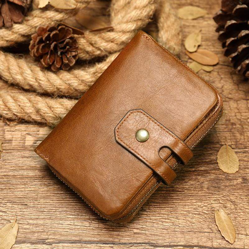 Obangbag Brown Women Chic Cute Large Capacity Multifunction Genuine Leather Wallet