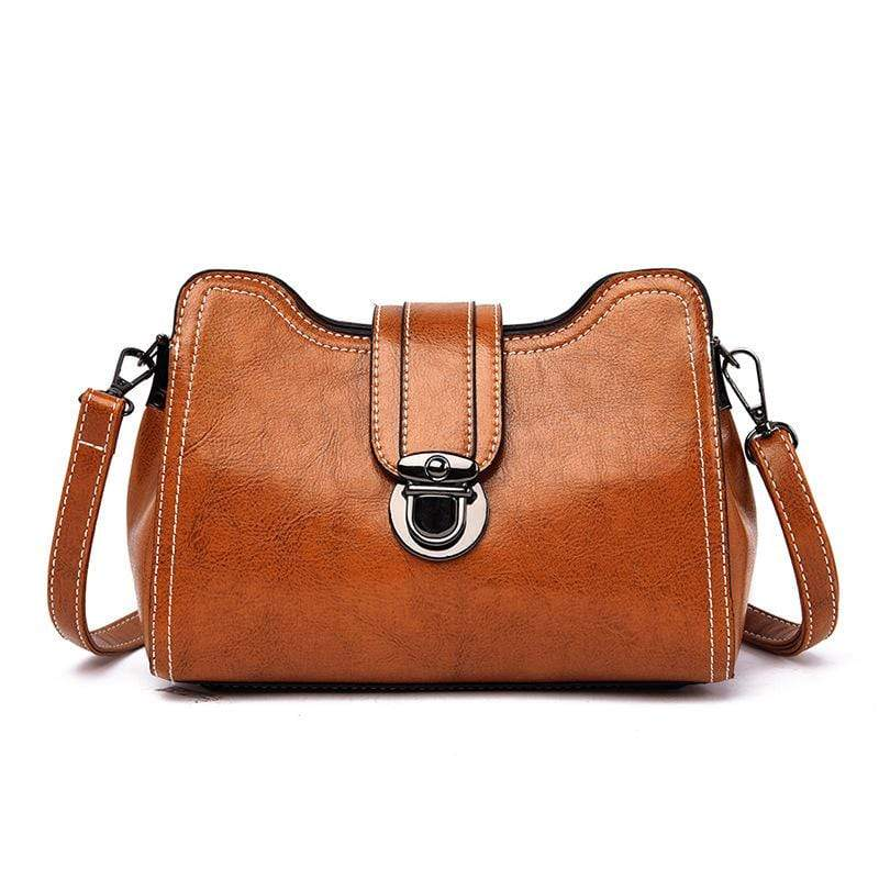 Obangbag Brown Women Chic Mini Anti-theft Roomy Multi Pockets Square Leather Crossbody Bag Shoulder Bag