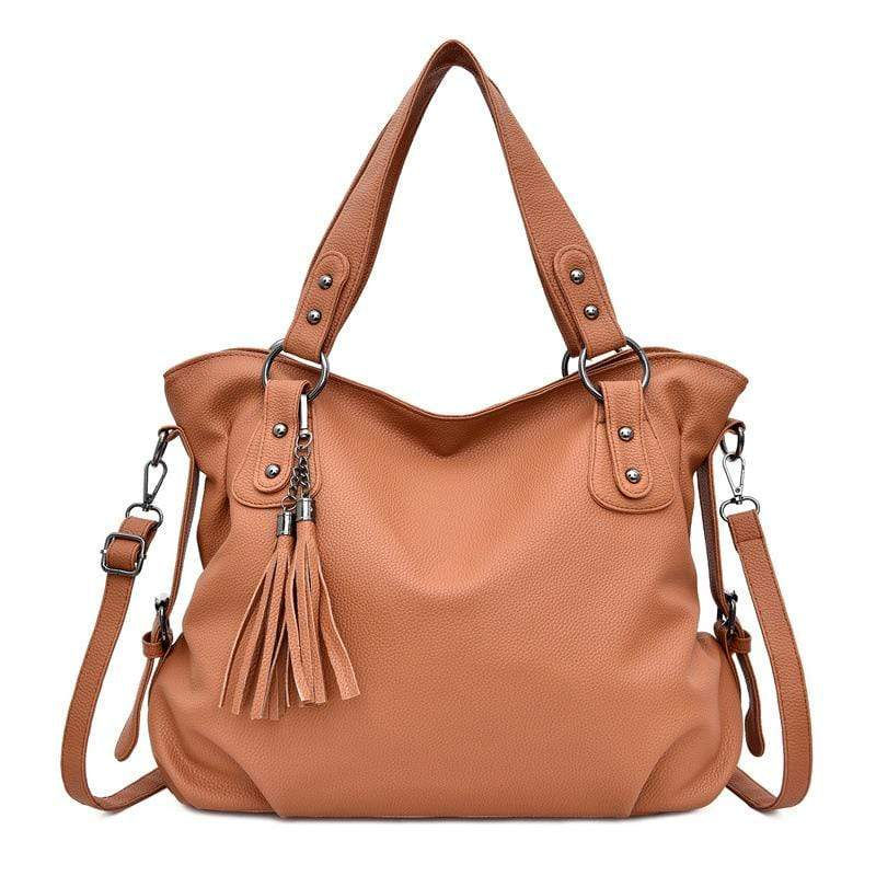 Obangbag Brown Women Chic Stylish Big Professional Large Capacity PU Leather Handbag Shoulder Bag Crossbody Bag for Work